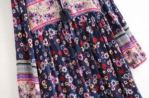 Image 3 - Vintage Chic women flare sleeve purple Floral print beach Bohemian v neck Maxi dress Ladies rayon Summer Boho dress