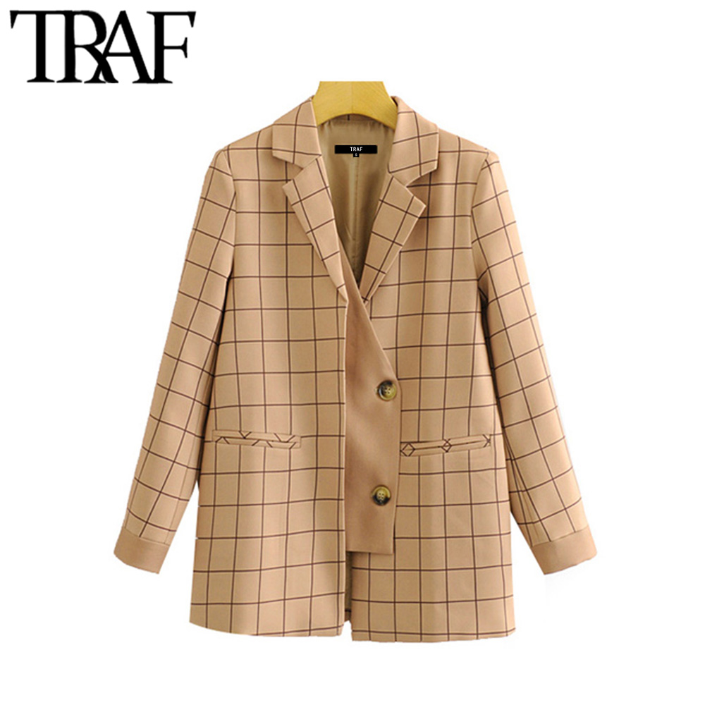 TRAF Women Vintage Stylish Patchwork Plaid Blazer Coat Fashion Notched Collar Long Sleeve Female Outerwear Chic Tops