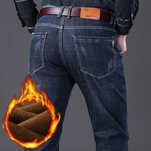 Image 5 - Jantour 2019 Nieuwe Mannen Warme Jeans Hoge Kwaliteit Beroemde Merk Winter Jeans Warme Massaal Warme Fleece Soft Heren Jeans Mannelijke 35 40 Size