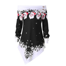 Women Christmas Santa Snowflake Printed Tops Off Shoulder Asymmetric Sweatshirt   7.29 christmas santa graphic pompon embellished sweatshirt