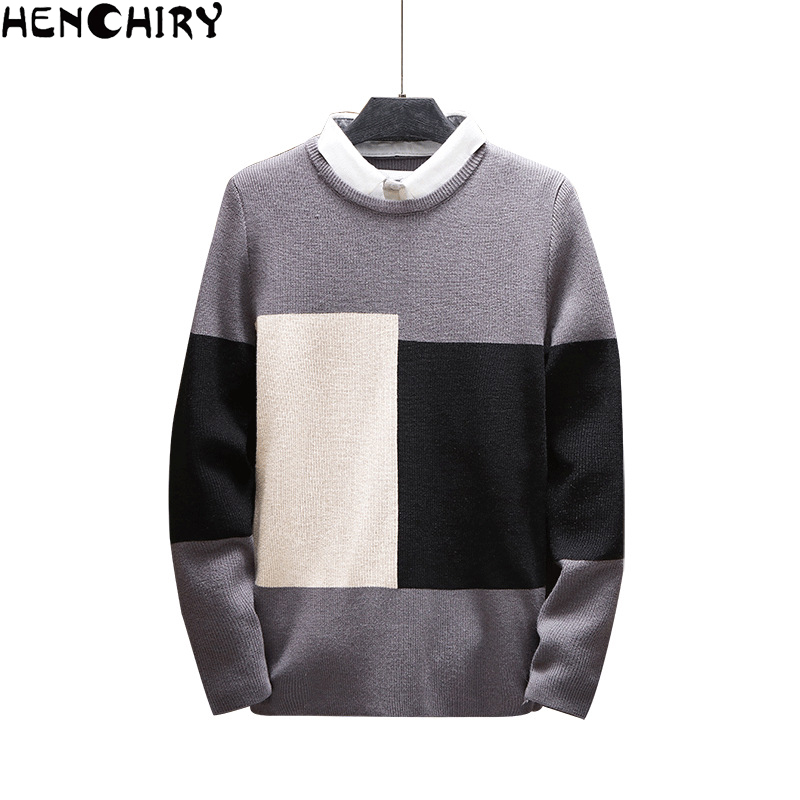 HENCHIRY Autumn Winter Oversized Men'S Sweater 2019 Sweaters For Men Sweater Men Solid Color Casual Men's Slim Fit Brand Knitted