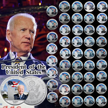 45 pçs novos presidentes dos eua prata chapeado moedas colecionáveis com titular da moeda donald trump moedas originais presente lembrança dropshipping