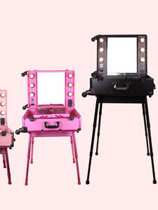 Mirror-Box Cosmetic-Case Makeup Pink Luggage Aluminum-Frame Artist Rolling-Studio Beauty