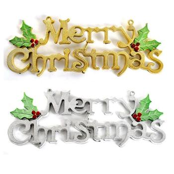 1Pc Merry Christmas Ornaments Christmas Tree Golden Silver Pendant Letter Card Decoration Family Party Christmas Decoration image