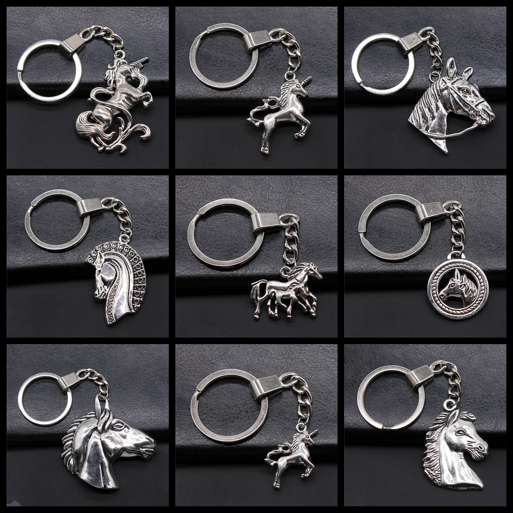 New Fashion Metal Alloy Keychain Lucky Horse Pendants DIY Men Jewelry Car Key Chain Ring Holder Souvenir For Gift