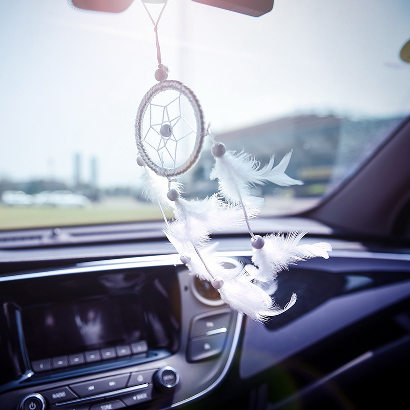 Maiden Heart Catcher Network Handmade Feather Car Pendant Ornaments Lovely Rearview Mirror Aestheticism Pendant Ornaments