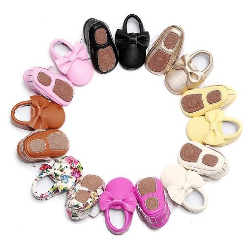 Hard Sole Toddler Moccasins Lovely Bow First Walker Shoes PU Leather Baby Girls Shoes Fashion Infant First Walkers Shoes