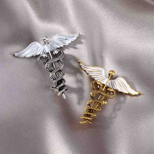 Кристалл кадуцеус булавки значок Броши отворот булавка символ медицины Ювелирные изделия Подарки для медсестры доктора медицинских студе...
