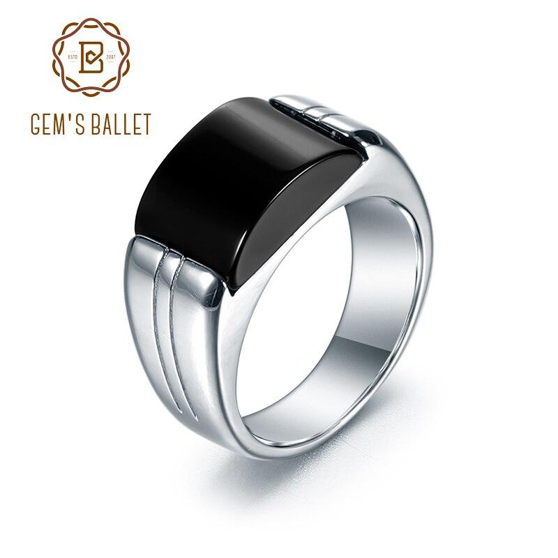 Gem's ballet 925 sterling sliver men vintage anel natural preto onyx anéis de casamento bandas masculino festa de noivado jóias tamanho 8-13
