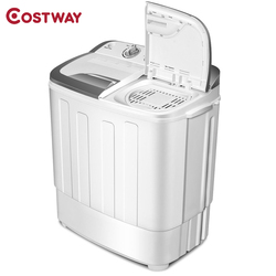 COSTWAY 8 lbs Compact Mini Twin Tub Dryer Washing Machine Separate Timer Control Settings Semi-automatic Washing Machine