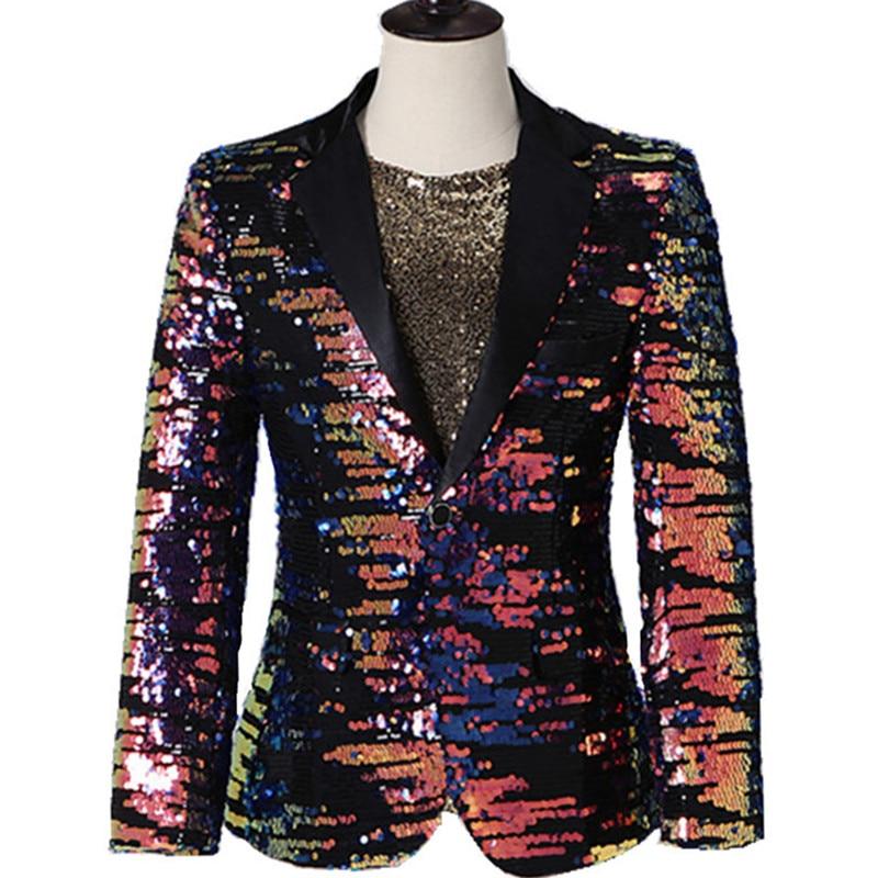 Masculino multi color lantejoulas blazer terno jaquetas bar discoteca concerto cantor estágio casual casaco cantor anfitrião desempenho traje - 6