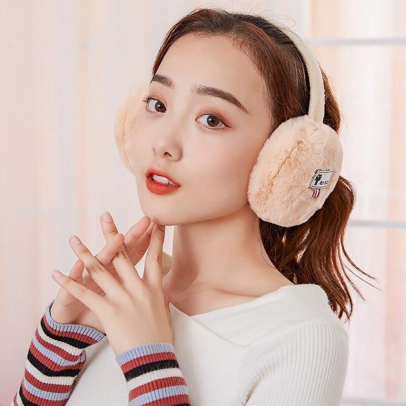Winter Woman Solid Color Earmuffs Fashion Trend Warm Thick Earmuffs Plush Cold Girl Earmuffs