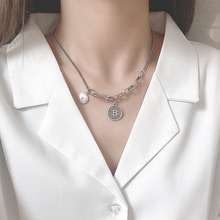 Individuality Letter Pendant Necklace 925 Sterling Silver Vintage Necklace Sweater Chain Necklace For Women Fashion Jewelry Gift недорого