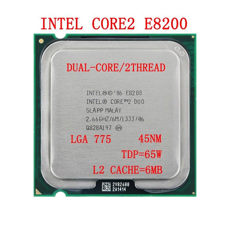 Original Intel Core 2 Duo  E8200 CPU  2.66GHz,6M,1333MHz,775pin,45nm Desktop Processor