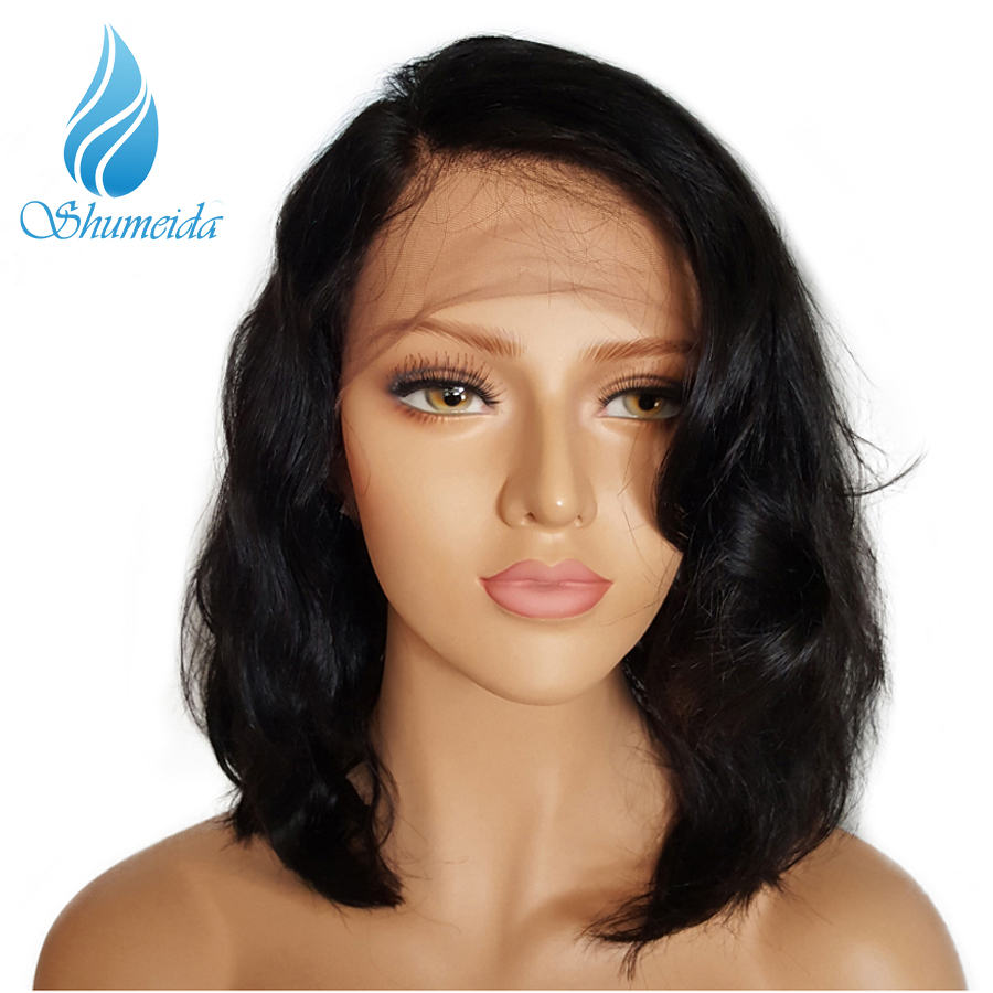 Glueless Bob Lace Front Human Hair Wigs Short Human Hair Wigs Wavy Lace Front Wigs For