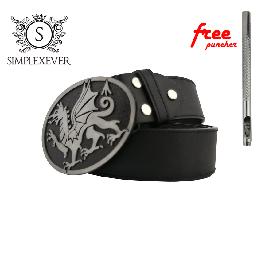 Men's Belt Buckle Dragon Black Silver Metal Pin Buckle With Leather Belt For Men