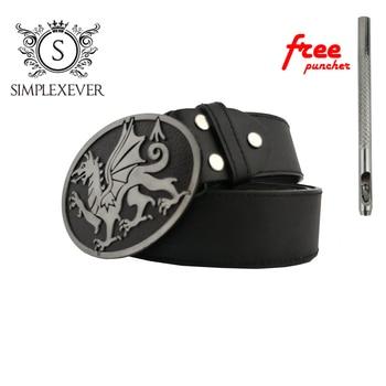 Men's Belt Buckle Dragon Black Silver Metal Pin Buckle with Leather Belt for Men цена 2017