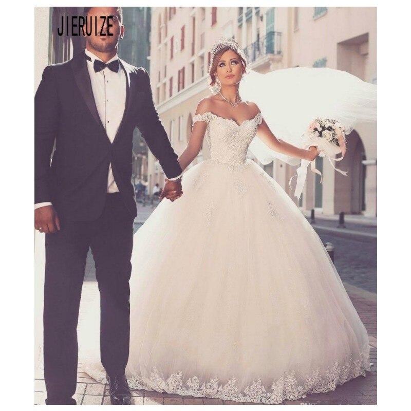 JIERUIZE Vintage  Sleeveless Ball Gown Wedding Dresses Off Shoulder With Appliqued Lace Up Back Bride Gowns Vestido De Noiva