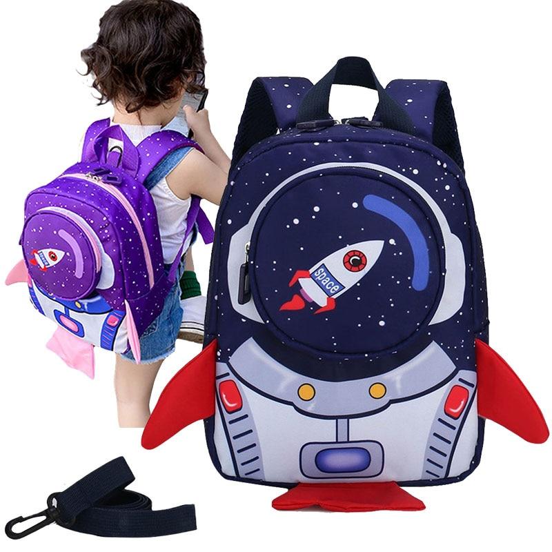 Girl Backpack Baby School Bag Boy Bolsas Space Rocket Print Kindergarten Rucksack Kid Cute Plecak Sac Bebe Mochila Infantil