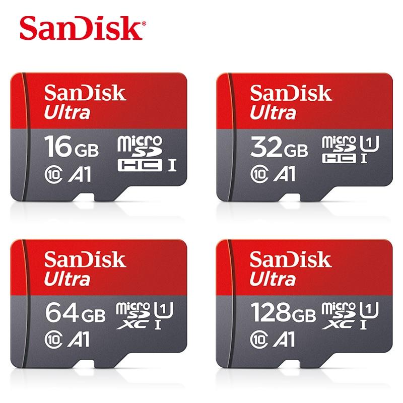 SanDisk карта памяти Micro SD, класс 10, 16 ГБ, 32 ГБ, 64 ГБ, 128 ГБ, 256 ГБ