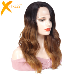 Image 1 - Ombre Brown Blonde Pink Synthetic Lace Front Wigs Long Body Wave Side Part Blue Grey Cosplay Hair Wig X TRESS African Hairpiece