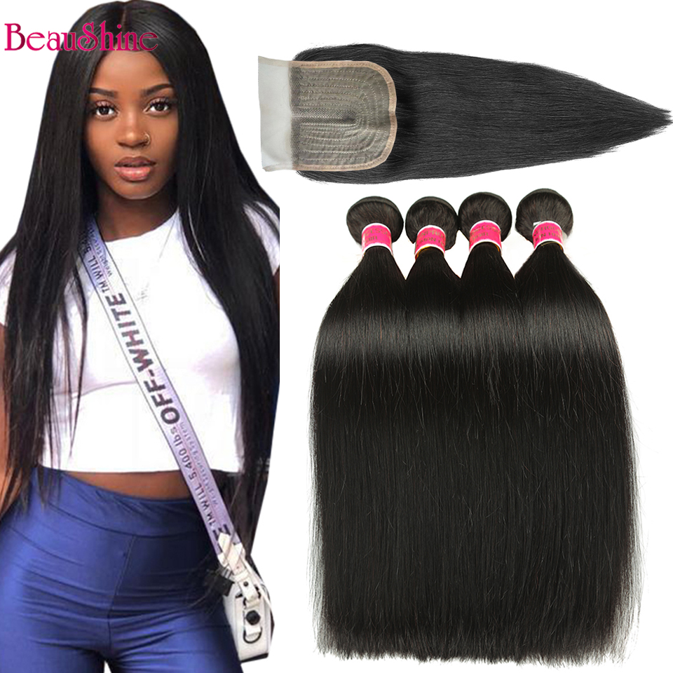 Peruvian Hair Bundles With Closure 4X1 T Part Lace Closure With Straight Human Hair Extensions Nature Color