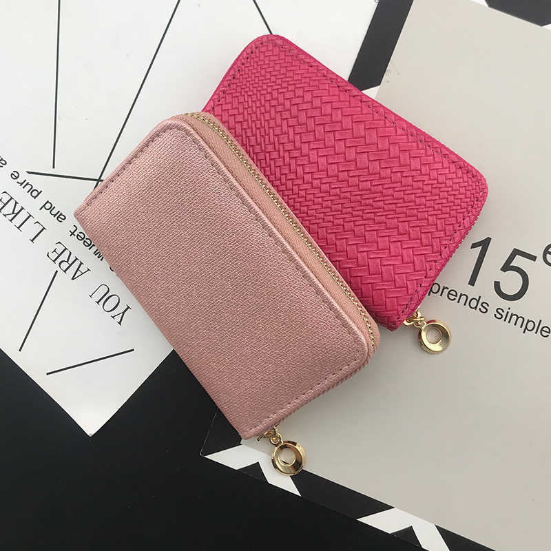 NICOLE & CO New short Purse PU Leather Women Wallets Fashion Cards Holders Slim Coin Pocket Purse Money Bag weaving wallets