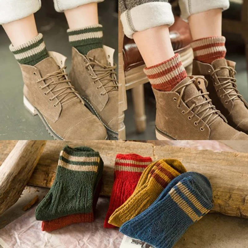 5 Pairs Autumn Winter Elastic Women's Socks Fashion Warm Thick Wool Striped Cashmere Hosiery