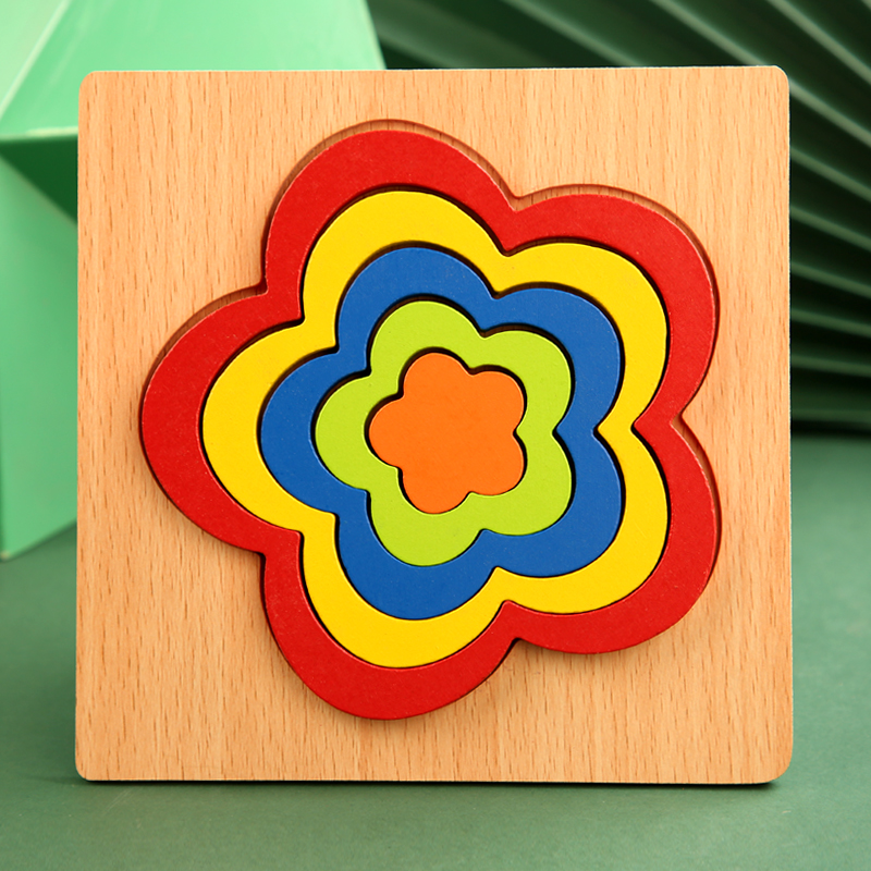 High Quality Colorful 3D Wooden Geometric Shapes Cognition Puzzles Board Math Game Montessori Learning Educational For Kids Toys 15