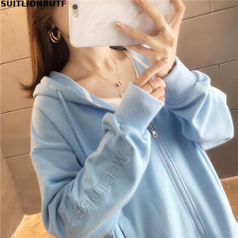 M-2xl Cotton Letter Embroidery Long Sleeve Hoodies Sweatshirts 2019 Autumn Loose Preppy Style Casual Sweatshirt SUITLIONBUTF 55