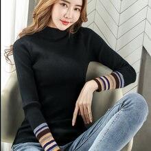 Черные Пуловеры с высоким воротником свитер осенние свитера