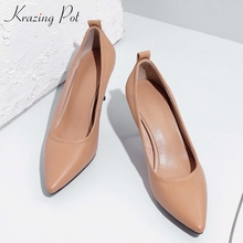 Ladies Shoes Dress Pumps Krazing-Pot Pointed-Toe High-Heels Office Genuine-Leather Women