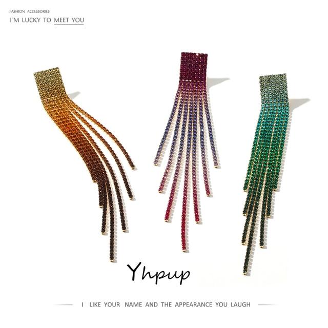 Yhpup Стразы Кристалл, Длинная кисточка висячие серьги 2020 Цвет цветной градиент цвета серьги ювелирные изделия для женщин Свадебная вечеринк...