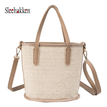 Summer woven female handbagbolsa feminina beach bag bucket type straw bag portable diagonal shoulder bag crossbody bag for women female shoulder portable diagonal four pieces large bucket bag
