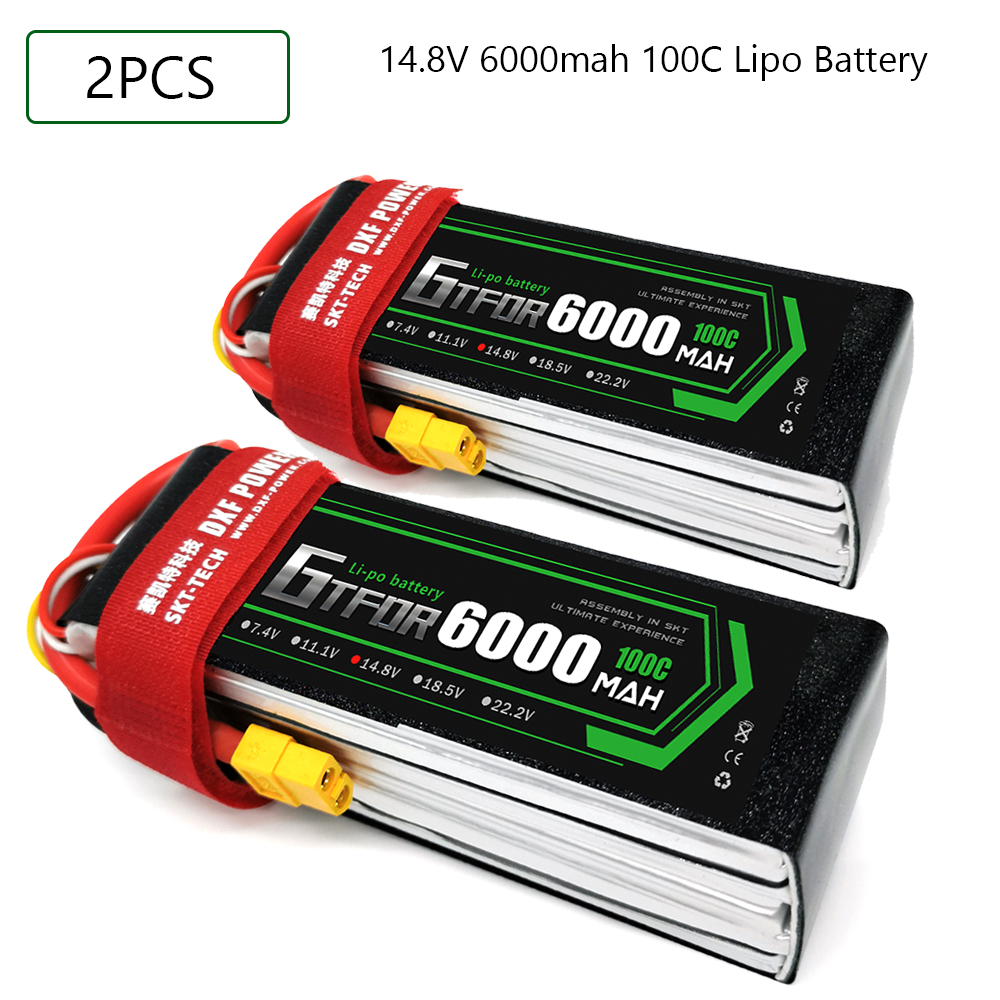 GTFDR <font><b>Lipo</b></font> battery 14.8V <font><b>6000MAH</b></font> 100C-200C AKKU <font><b>4S</b></font> <font><b>LiPo</b></font> Battery Deans For truck fpv drone Rc Helicopter Boat 1/8 off road car image