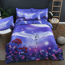 2/3pcs Europe America Tiger Pegasus Unicorn Wolf 3D Stereoscopic Duvet Cover Pillowcase Queen King Size Bedding Set No Bed Sheet