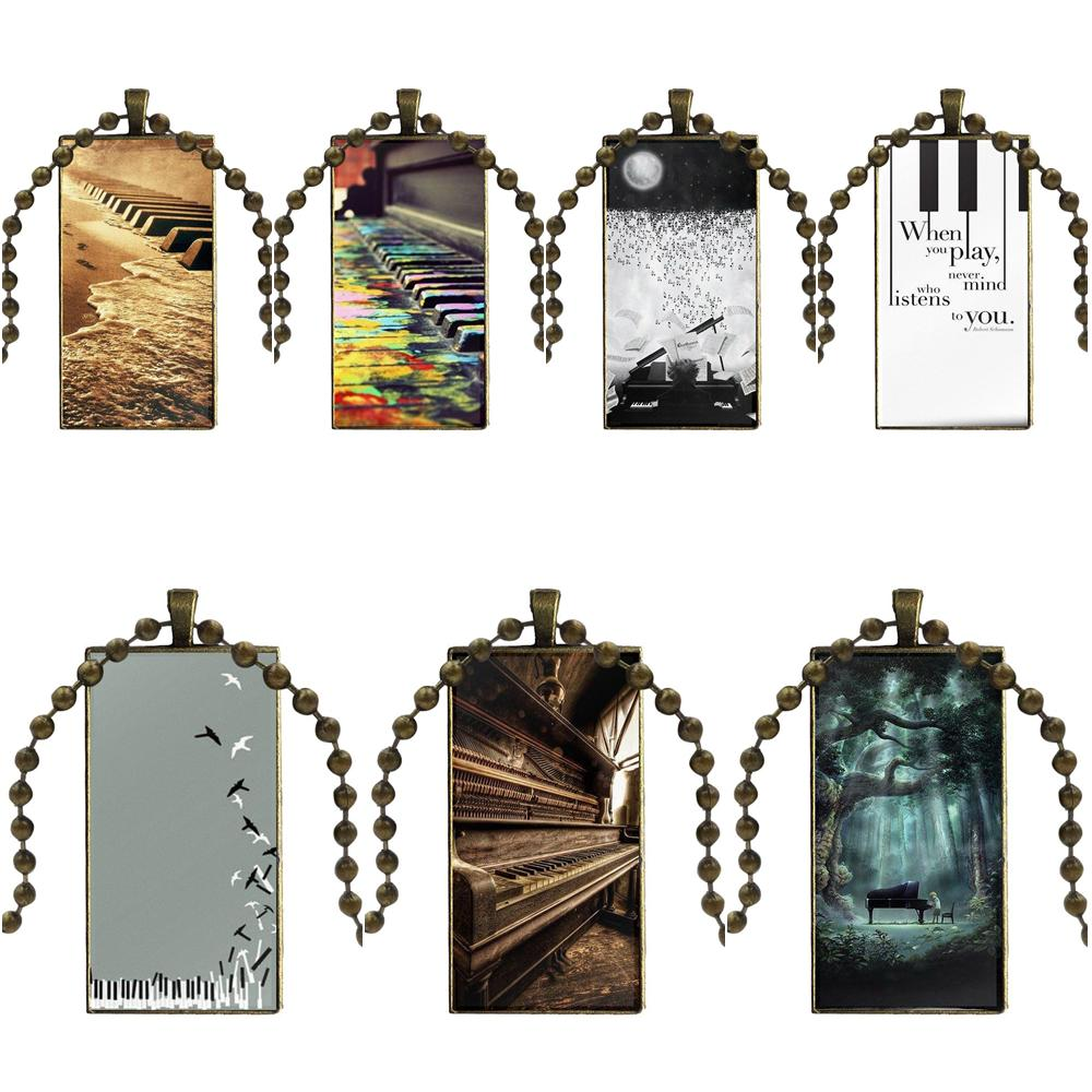For Women Handmade Girls Glass Cabochon Pendant Necklace Rectangle Fashion Necklace Music Software Piano Plug image