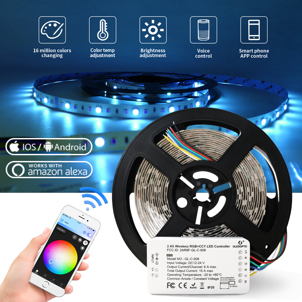 Zigbee Led Strip Light Work With Alexa Echo Puls Rgb/rgbw/rgb+cct Warm White 24V Zigbee Controller Smart Phone Control LED Light