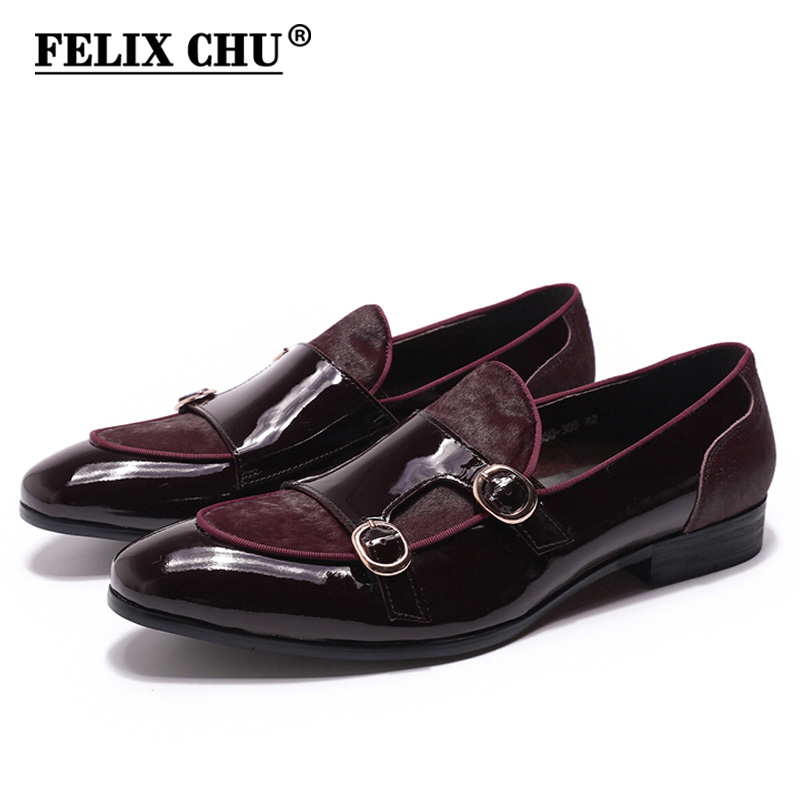 FELIX CHU Mens Wedding Loafers Gentlemen Banquet Party Dress Shoes Patent Leather With Horse Hair Casual Monk Strap Men's Shoes