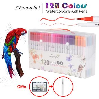 120 Farben Dual Tip Pinsel Marker Stifte Fineliner Aquarell Kunst Marker Kalligraphie Färbung Zeichnung Kunst Liefert mit Marker Pad