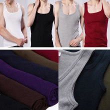 Gilet élastique coréen en coton pour hommes, vêtement extensible, à la mode, col carré, sans manches, chemise pour Fitness, collection 2020 et débardeur