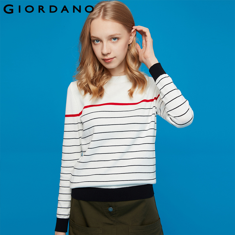 Giordano Women Sweater Knitwear Women Crewneck Combed Cotton Stripe Knitwear Long-Sleeve 100% Soft Thin Sweater Women 91359870