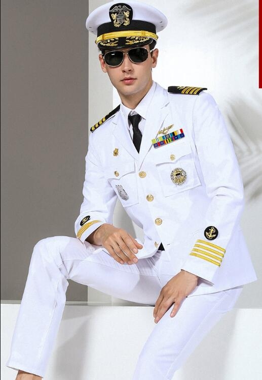 Autumen Navy Uniform Captain Yacht Uniform Military Suit Men White