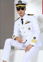 Autumen Navy uniform Captain Yacht uniform Military suit Men White