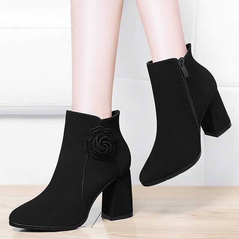 Gucci Tianlun High Heel Boots Women's Genuine Leather Martin Boots 2019 Autumn & Winter New Style Plus Velvet Boots WOMEN'S Shoe