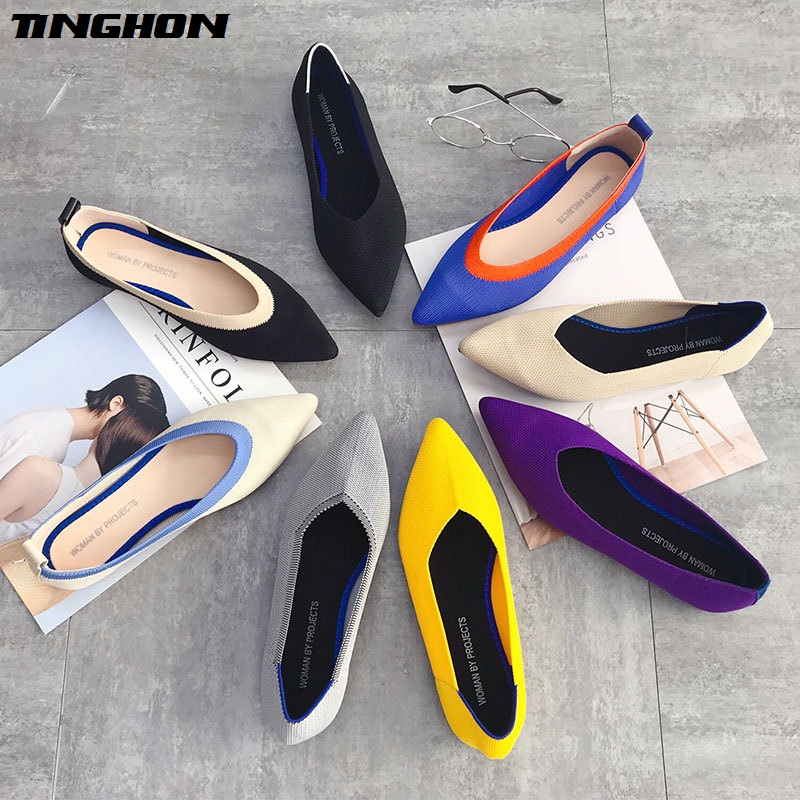 TINGHON Flats-Shoes Ballerina-Flats Pointed-Toe Spring Women Slip-On Casual Shallow 31colors title=