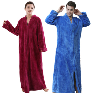 Image 4 - Women Plus Size Thickening Flannel Extra Long Thermal Bathrobe Lovers Zipper V Neck Winter Warm Bath Robe Pregnant Wedding Robes