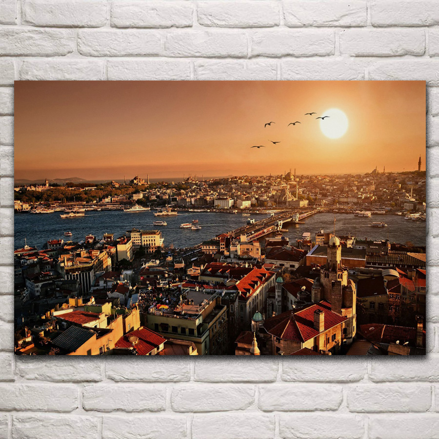 <font><b>istanbul</b></font> city building sunset landscape living room home art decor wood frame fabric poster KF043 image
