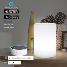 Cylinder WiFi Smart Table Light Mobile APP Control Rechargeable Lamp Works With Alexa Google Home Voice Control RGB LED Light