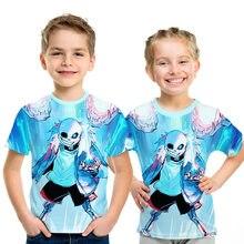 Mode d'été squelette frère t-shirt jeu undertale sans enfants 3D imprimé dessin animé t-shirt pour garçons filles enfants hauts